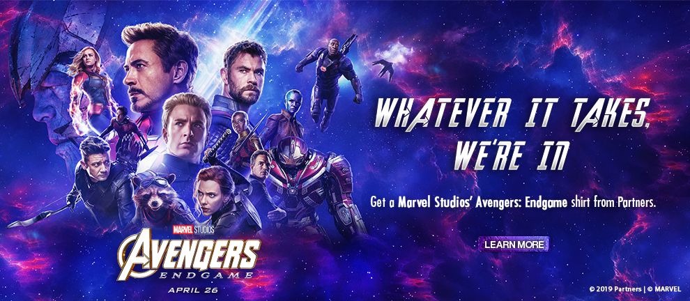 Get an exclusive Marvel Studios' Avengers: End Game shirt from Partners
