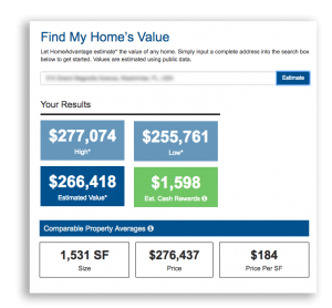 Graphic describing the tool, Find my home's value.