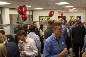 Wide shot of a full house at the DU open house