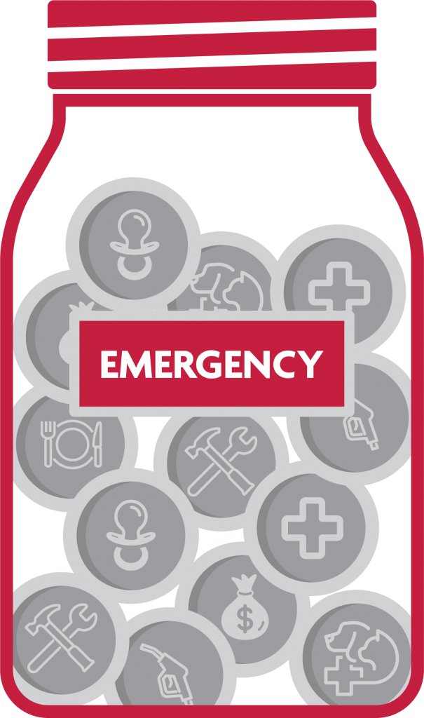 Jar with icons and the word emergency