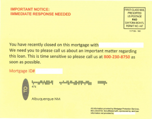 Mortgage Scam Postcard Example