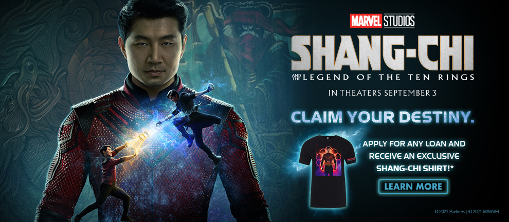 Shang Chi movie promotion for a free t-shirt with a new loan.